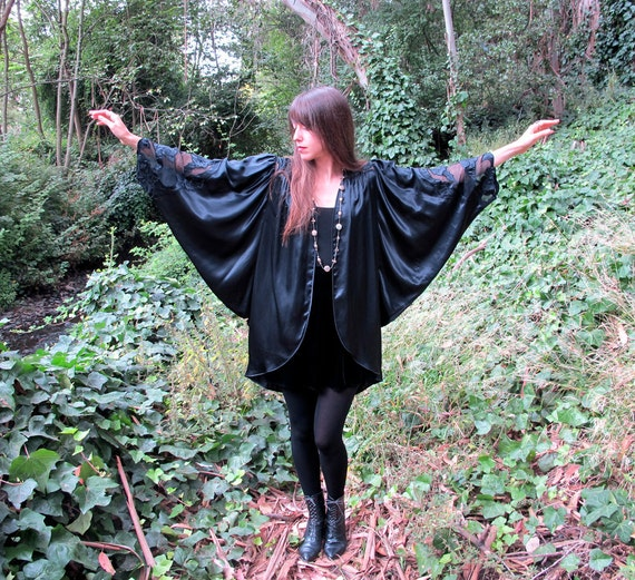Designer Cutout Draped Vintage Kimono Jacket Natori Imagnin Silk Blk Sheer Art Nouveau Balloon Sleeves