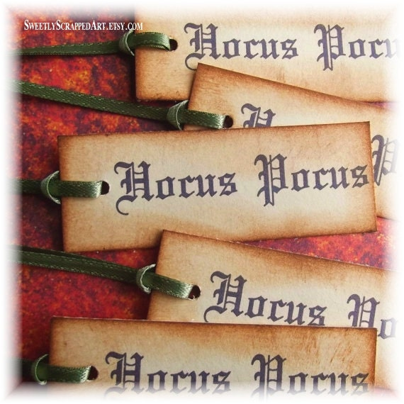 Halloween Tags, Hocus Pocus Magic - Hand Aged, Vintage Inspired, Green Satin RIbbon