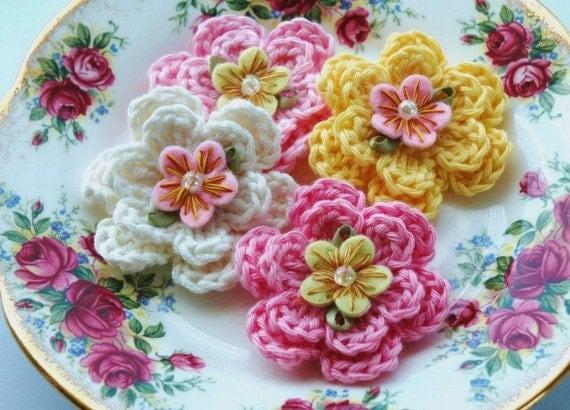Crochet Flowers x 4