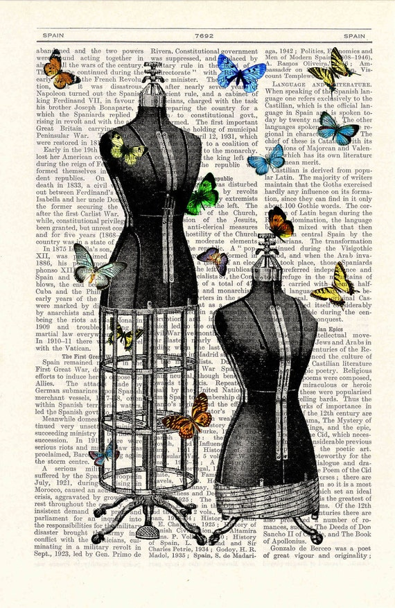 Butterfly collage Vintage Book Print Dictionary butterfly Page Print-Dress form collage Print on Vintage Dictionary Bookart art