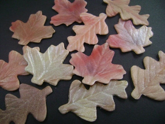 fondant Autumn leaves for cakes and cupcakes