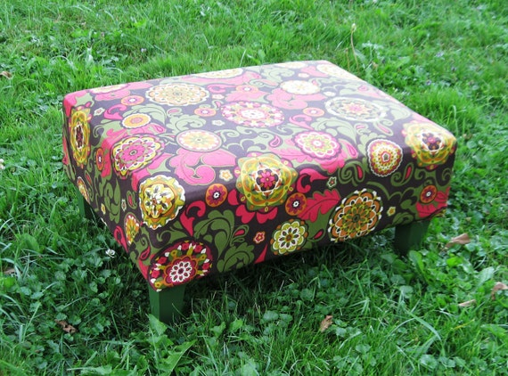 Upcycled Pink & Green Filligre Footrest/Stool