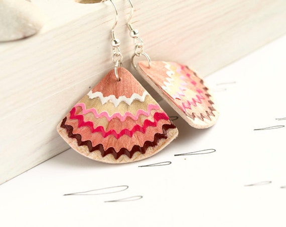 ruffled geometrical  earrings - brown, fuchsia,pink,white - pencil shavings - handmade contemporary geek earrings
