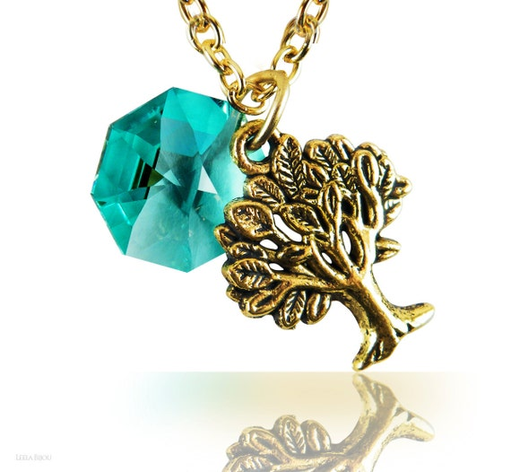 Necklace Teal Green Tree Swarovski Crystal Gold by LeelaBijou from etsycom