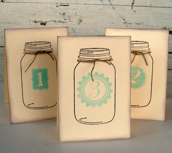 mason jar wedding table signs,  table tent, double sided custom color and tie, rustic, set 10