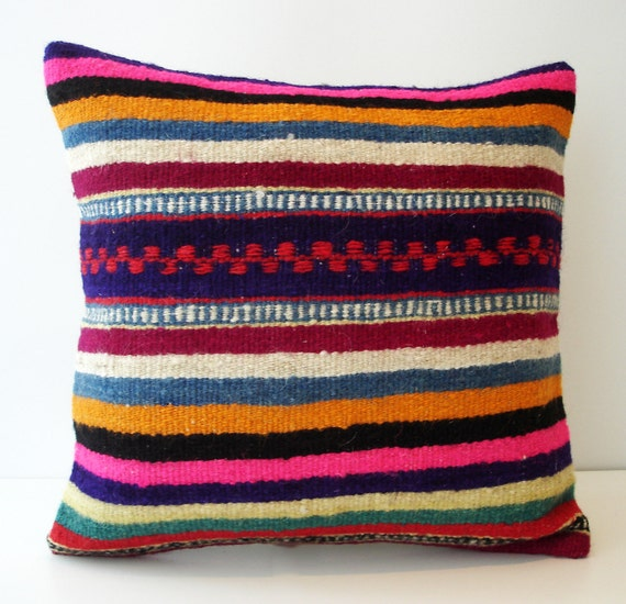 Sukan / Hand Woven - Turkish Striped Kilim Pillow Cover - 18x18