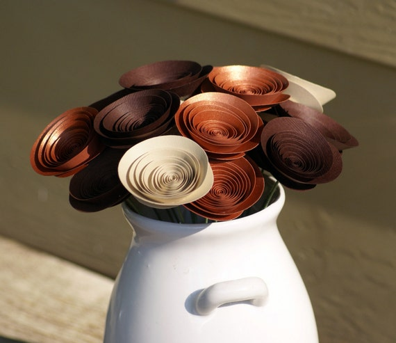 Chic Paper Flowers in Chocolate Brown, Copper, and Cafe au Lait -- Metallic Centerpiece -- Nature Decor -- Neutral Colors