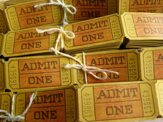 Vintage Yellow Carnival Style ADMIT ONE Admittance Tickets - Set of 20