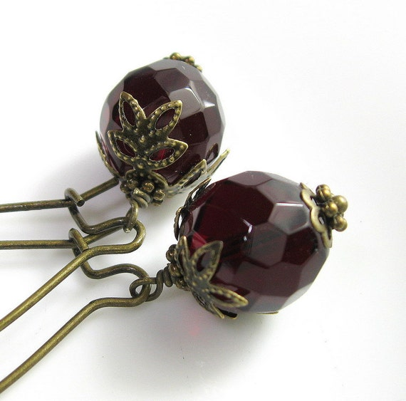 Vintage Style Earrings in Dark Garnet and Brass