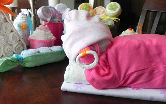 Sleeping Baby Diaper Cake - baby blanket onesie hat socks pacifier baby shower gift cute unique boy girl neutral