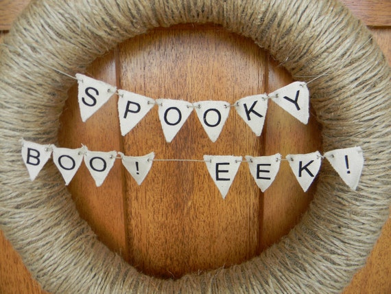 Halloween canvas mini-pennant banners - 3 pack - SPOOKY, BOO, EEK