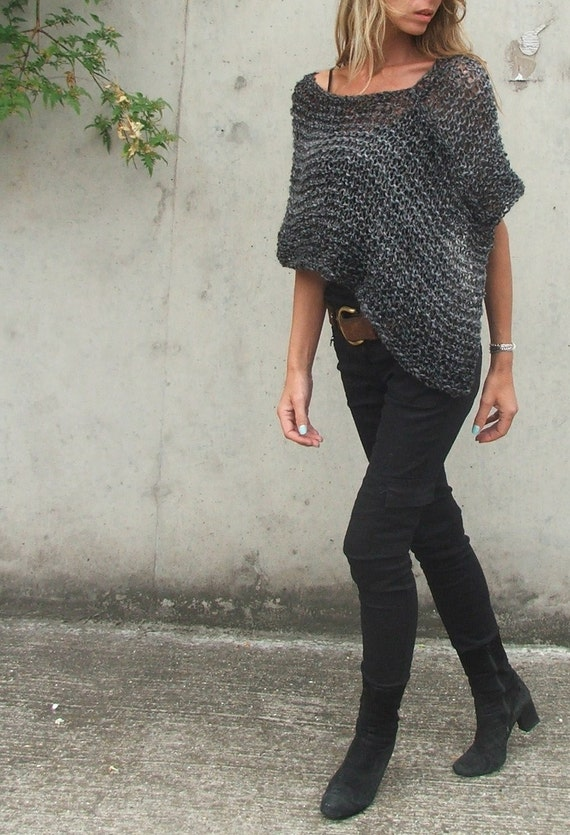 grey poncho in luxury fibres