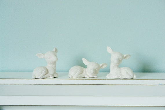 Porcelain Deer Set - Small Unglazed White Woodland Deer