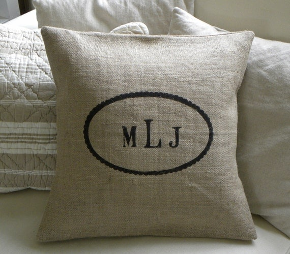 custom burlap initials monogram pillow cover