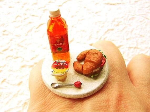 Продовольственная кольцо Kawaii Пудинг Сэндвич чай
