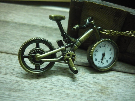 Pocket locket watch necklace with retro copper bike pendan / additional leather chain FOR FREE
