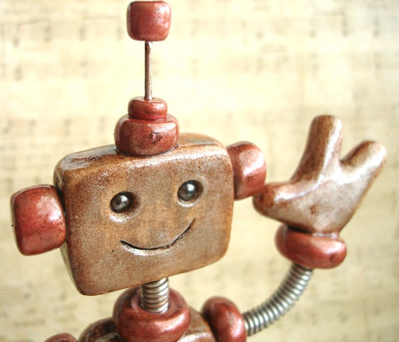 Robot Birthday Cake Topper - Rustic Red Ruby - Polymer Clay, Paint, Wire
