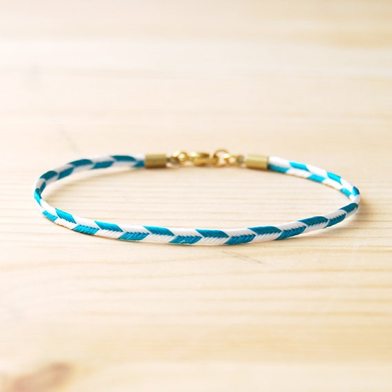 "Chevron Bracelet in Teal & White, ""The Lariat"""
