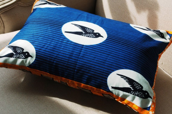 Blue Birds Pillow cover with Orange Trim - 12 x 18 inches Ready to Ship