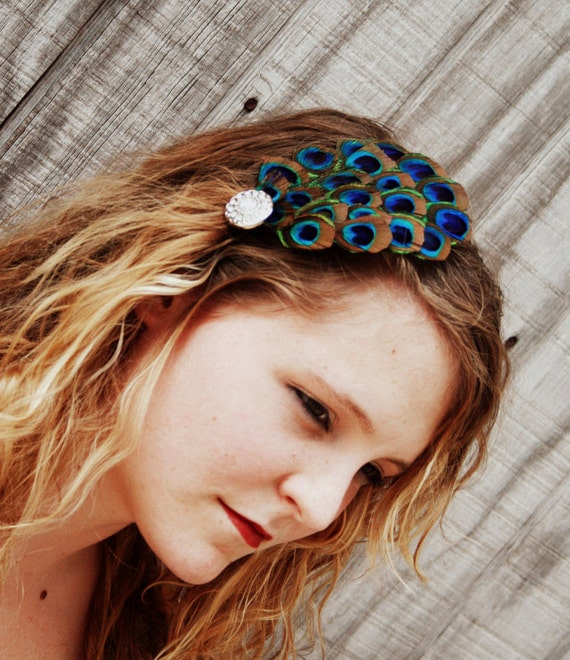 PEACOCK FEATHER FASCINATOR... Turquoise & Brown Hair Clip - Elegant Couture