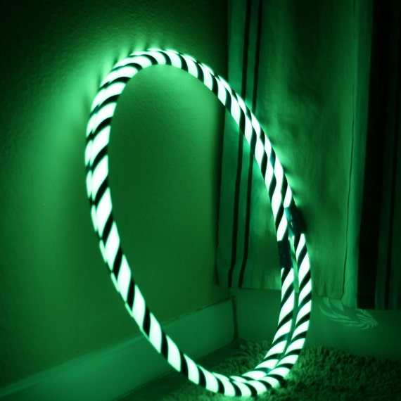 Light Collapsible Travel Fitness Hula Hoop  Glow in Dark - Electric Blues Feather LoopHoop
