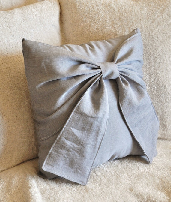 Grey Big Bow Pillow Cover -16 x 16- Throw Pillow Cover