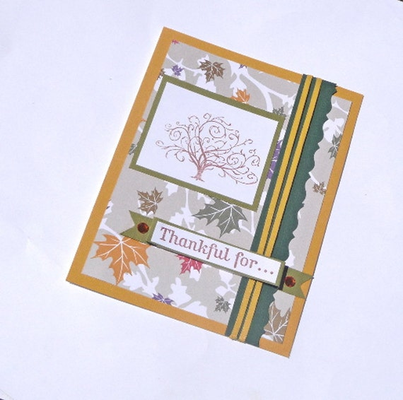 Handmade Greeting Card - Thankful For - Blank Thanksgiving Card