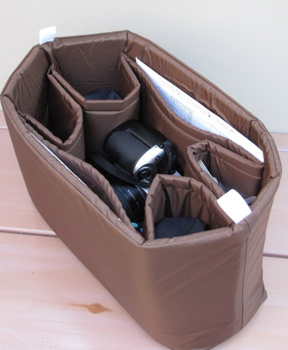 DSLR Camera Bag Insert in Brown - Lens Sleeves  - You choose Dimensions