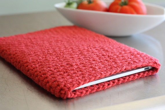 iPad sleeve,  cover  or case - CORAL pink orange