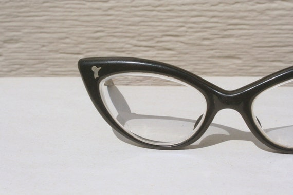 1950's Black Cat Eye Small Face Eyeglasses Angular, Child or Teenage Size by Rou Teen by Liberty