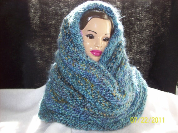 Multi-colored Reversible Hood/Cowl or Snood-Free USA Shipping