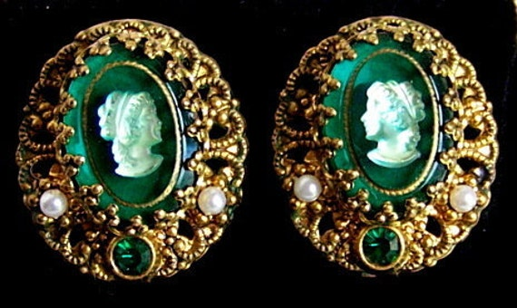 Victorian Cameo Clip Earrings in a Dark Emerald Green w/ Gold tone Filigree
