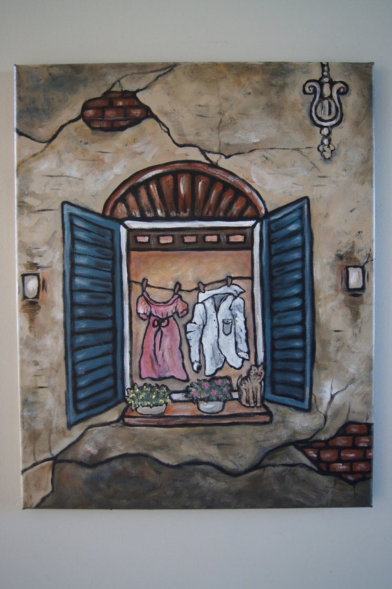 Italian Alley Series - Evening Laundry - Original Acrylic Painting