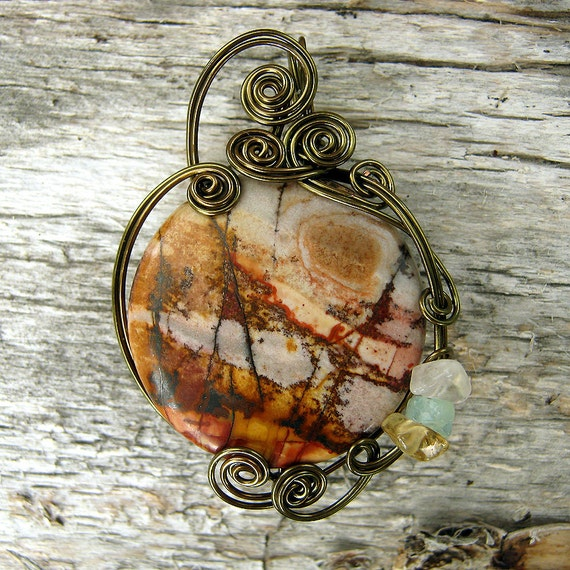 Picasso Jasper Wire Wrapped Pendant Necklace in Antique Bronze