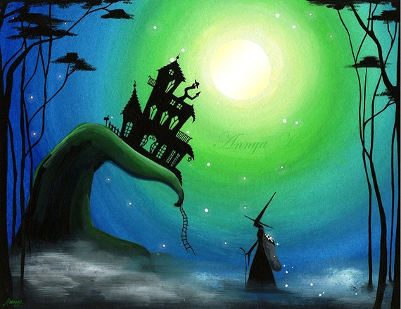 Star Snatcher Witch - 8.5 x 11 Painting Print