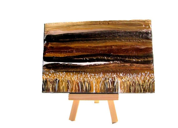 Wheat Fields Original Acrylic Painting Mini Art with Display Easel Nature Landscape Neutral Brown Rust Tan