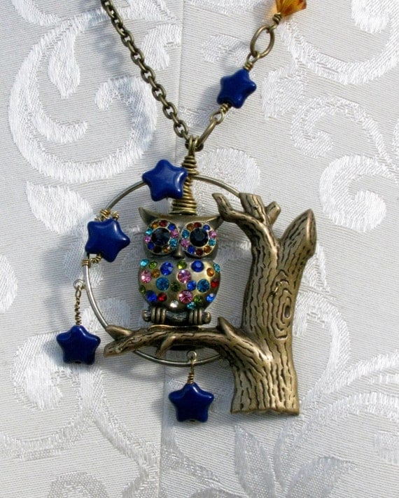 Rhinestone Owl Moon and Stars Brass Pendant by bajunajewelry from etsy.com