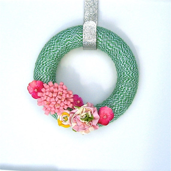 Spring Wreath with Vintage Millinery, Upcycled Wool and Fabric Flowers: Posey Haberdashery