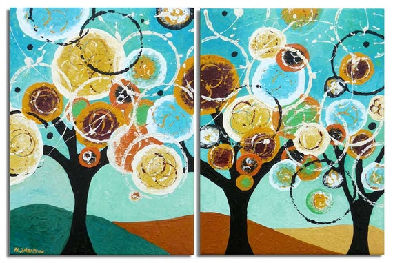 Tree Painting Trees of Life Original Whimsical Art