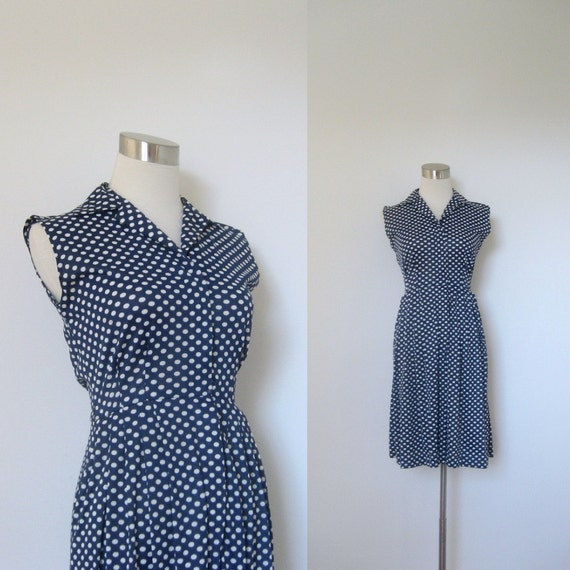 1960s Polka Dotted Dress / Navy Blue and White Polka Dots / Zip Front