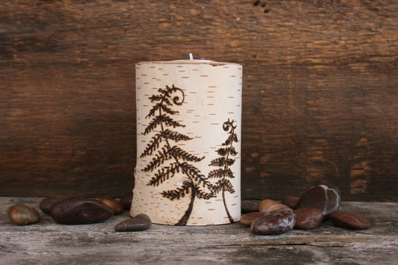 Woodland Fern - Tealight Candle Holder - Woodburning on Birch