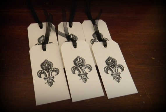 Set of 6 fleur de lis Gift Favor Party Tags