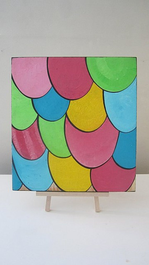 MultiColored Cartoon Scales on Repurposed Wood Board