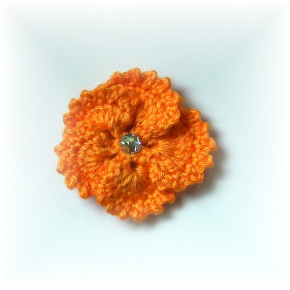 Hair Clip Pansy Mango with Gem Center