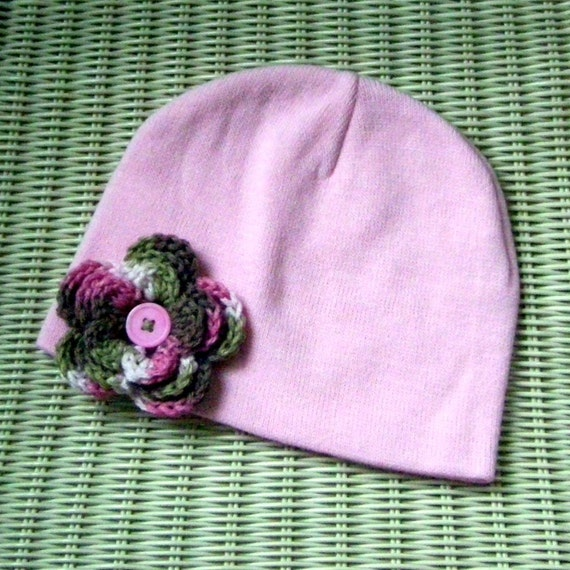 Pink Beanie with Pink Cammo Crocheted Flower Button Center