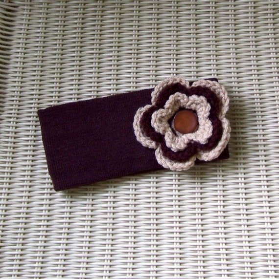 Winter Headband Ear Warmer Coffee With Flower and Button Center