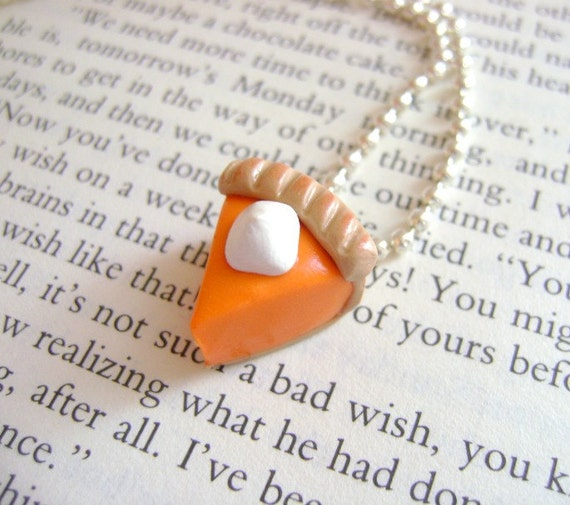 Pumpkin Pie Necklace- Handmade from Polymer Clay