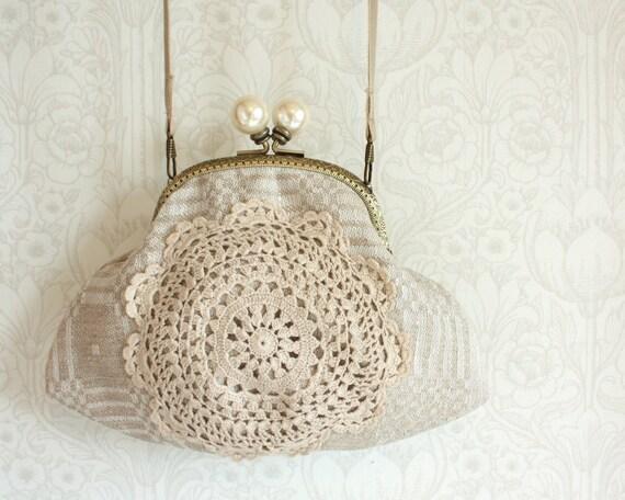 кошелек с классическим вязаное кружево, лен