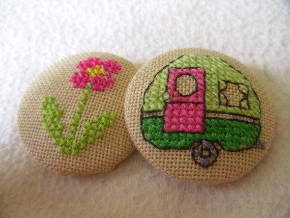 set of 2 beautifully and lovingly made 39mm fabric covered buttons