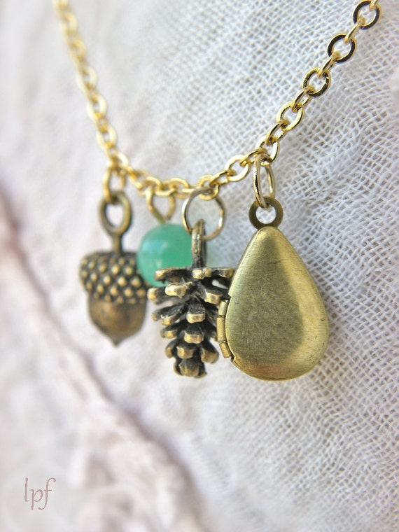 Necklace -Woodland- Vintage brass locket, acorn, pine cone, green glass bead, rustic, nature, fall inspired